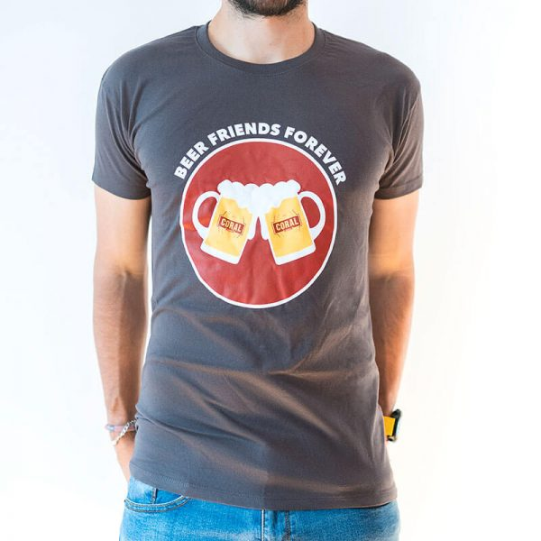 """T-shirt personalizada Coral. """"Beer Friends Forever"""""""