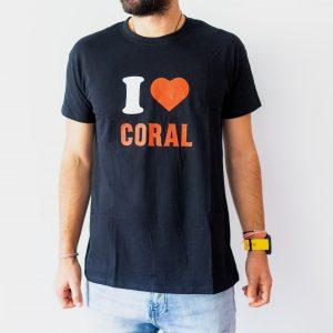 T-Shit I Love Coral Preta